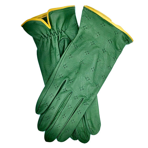 Unlined leather gloves - racing Green
