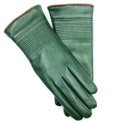 Cashmere lined leather gloves - racing Green