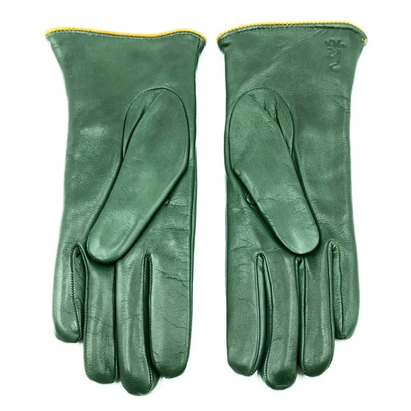 Cashmere lined leather gloves - racing Green/yellow