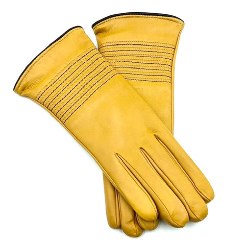 Cashmere lined leather gloves - Yellow