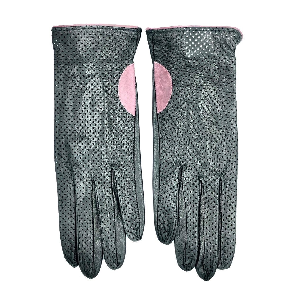 Unlined leather gloves - Black/Pink
