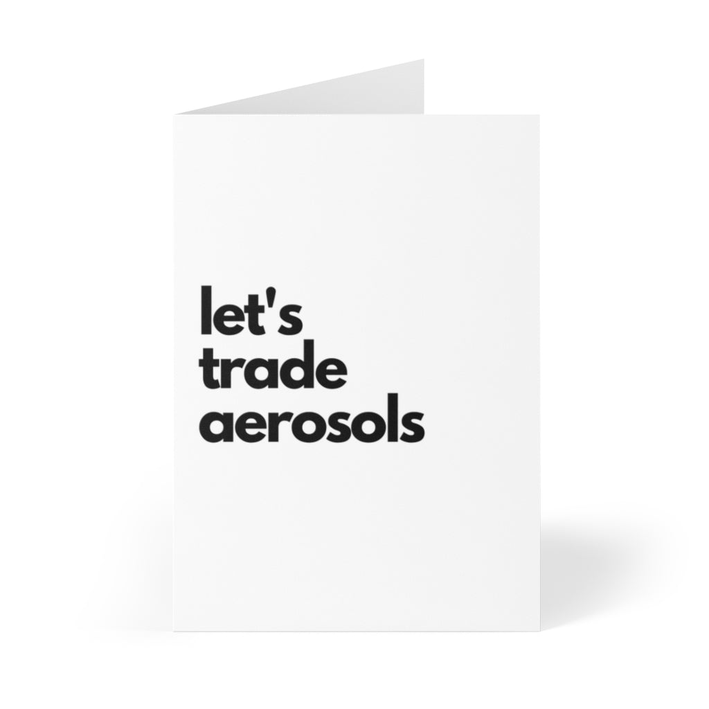 black and white valentines day card that says let's trade aerosols