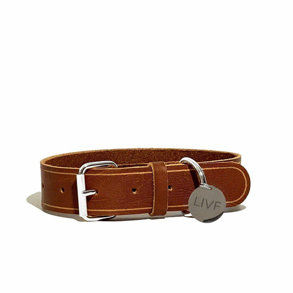Basco Dog Collar - Cognac-LIVF - Pet Supplies