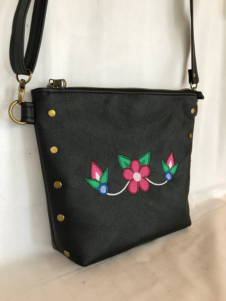 Black Leather Cross Body Purse