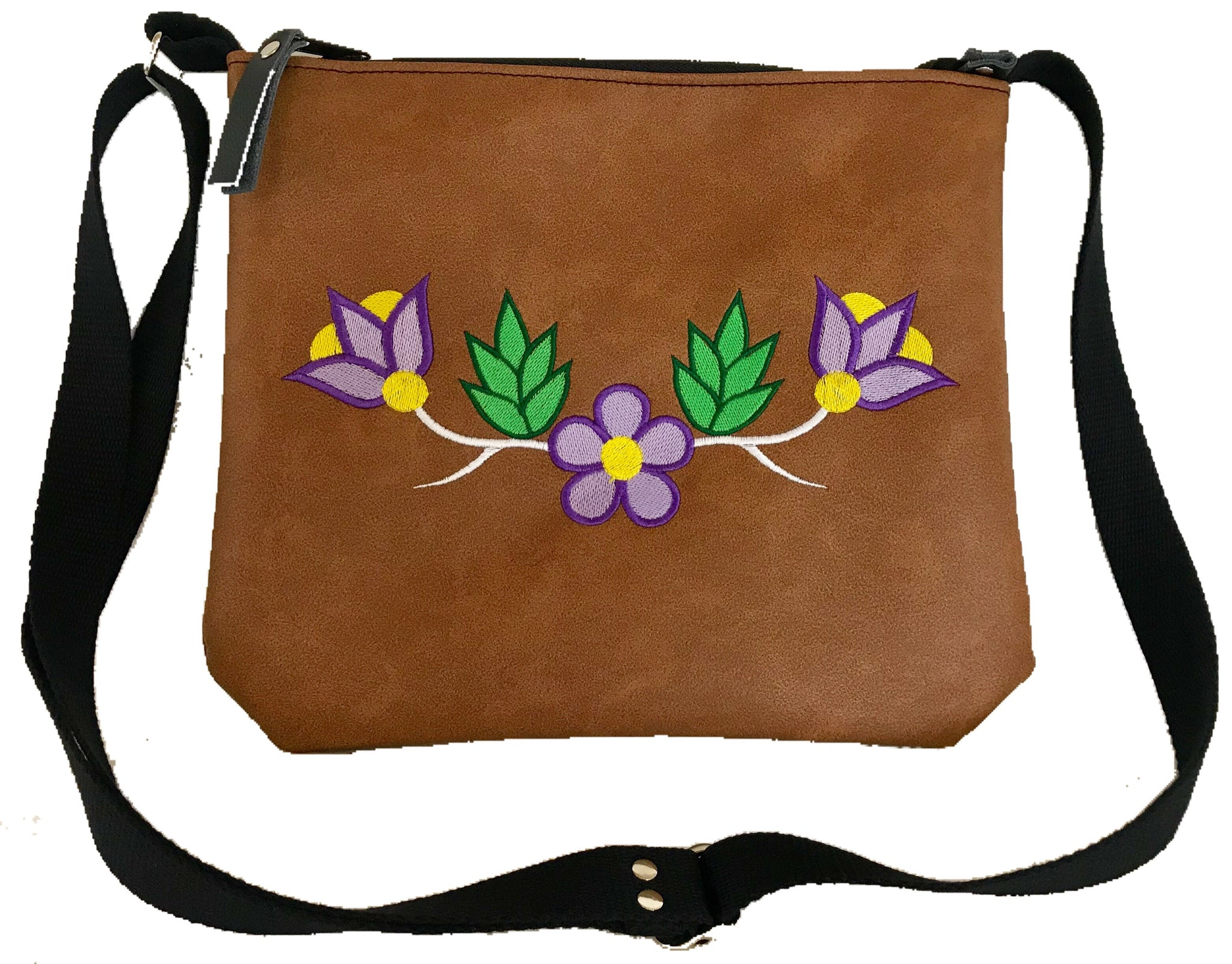 Ready to Go - Niibin Mini Purse in Lightweight Tan Vinyl - Purple