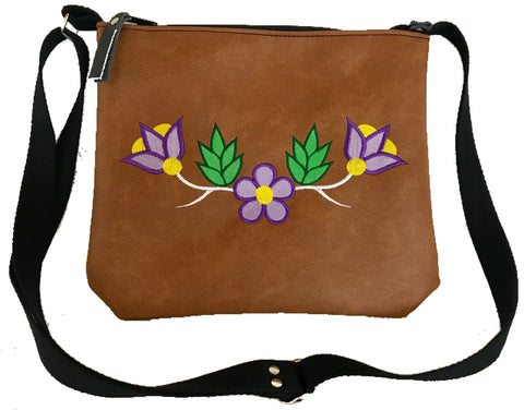 Niibin Mini Purse in Lightweight Tan Vinyl - Purple