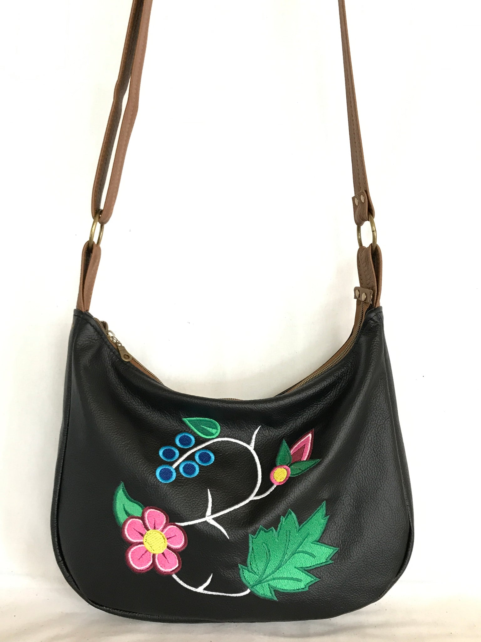 Black and Brown Leather Hobo Cross Body