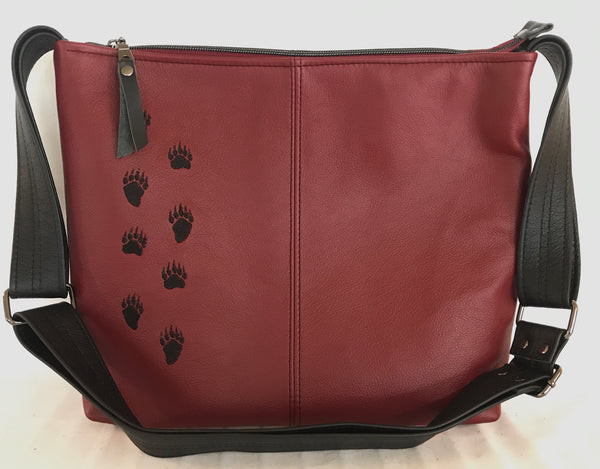 Deep Red Bear Track Cross Body Purse