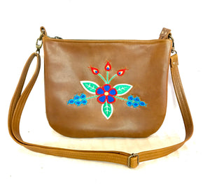 Cognac Leather Cross Body Purse