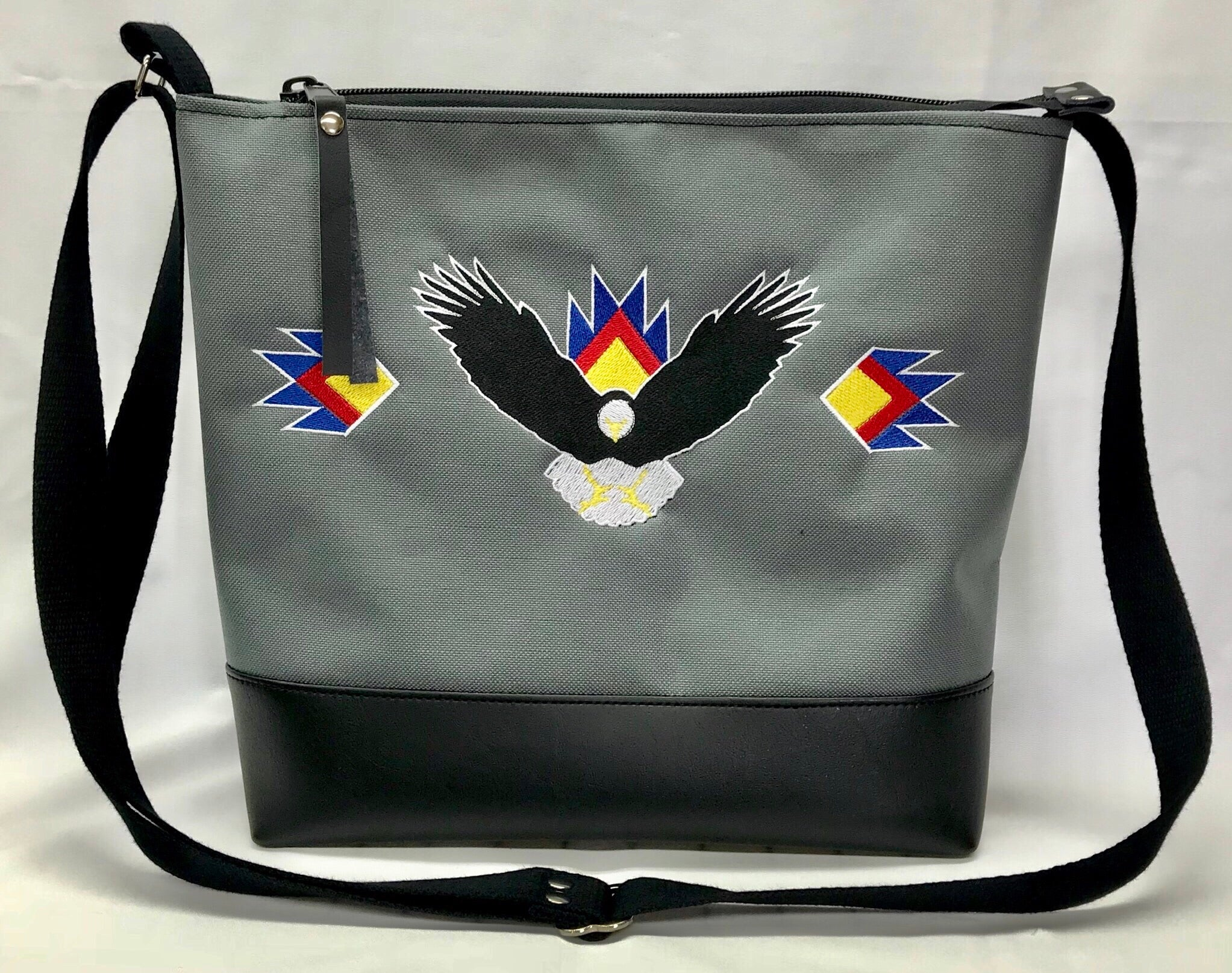Eagle Cross-body Purse in Charcoal Grey