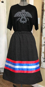 Ribbon Skirt - Blue & Red Ribbon
