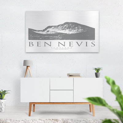 Ben Nevis brushed aluminium print |Wall Art | Garden Wall Art | Gift for Mountaineers