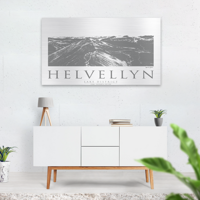 Helvellyn brushed aluminium print |Wall Art | Garden Wall Art | Gift for Mountaineers