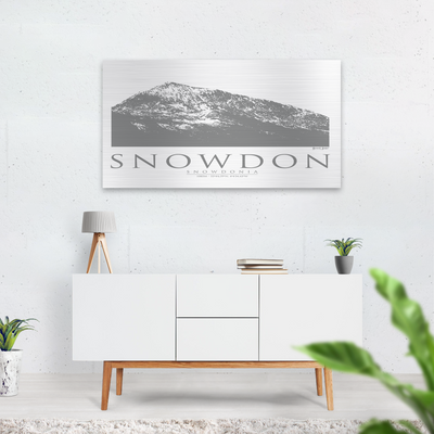 Snowdon brushed aluminium print |Wall Art | Garden Wall Art | Gift for Mountaineers