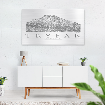 Tryfan brushed aluminium print | Wall Art | Garden Wall Art | Gift for Mountaineers