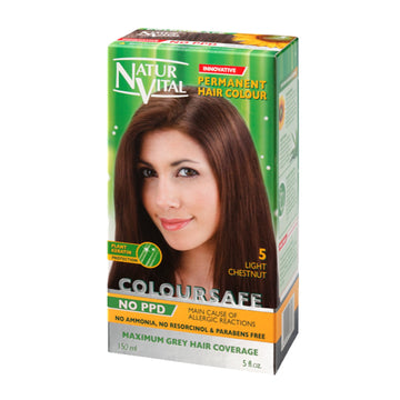 NaturVital ColourSafe Permanent Hair Dye - Light Chestnut (5)