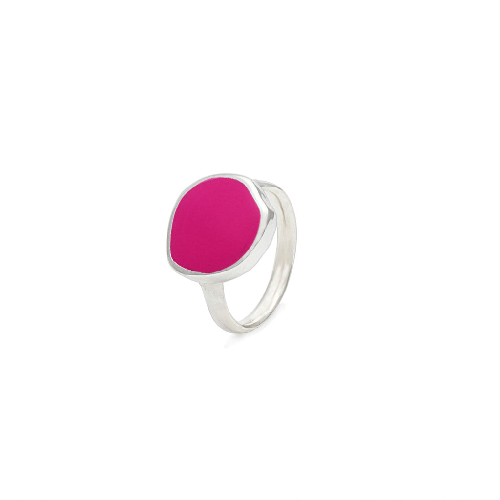 Anello Colors con smalto color fucsia