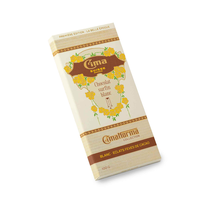 Organic Swiss White Chocolate with Cocoa Nibs - CimaNorma