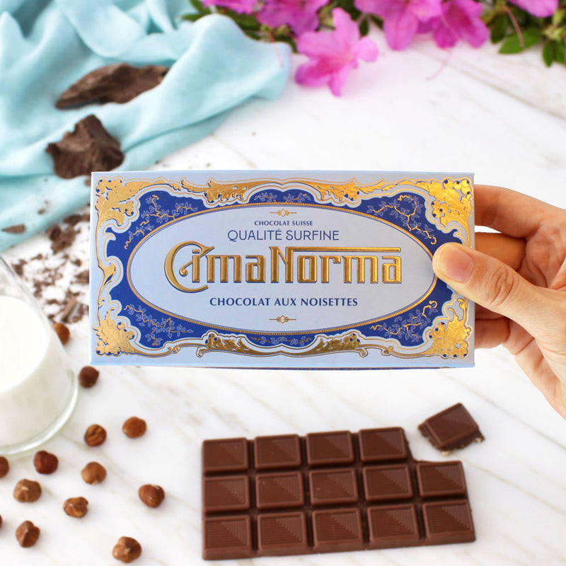 Organic Swiss Milk Chocolate with Hazelnuts - CimaNorma
