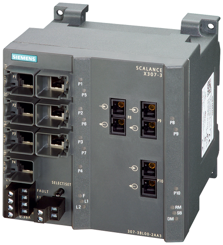 SCALANCE X307-3 managed plus IE switch - 3x 1000 Mbit/s MM SC - 7x 10/100 Mbit/s RJ45 ports - 6GK5307-3BL10-2AA3