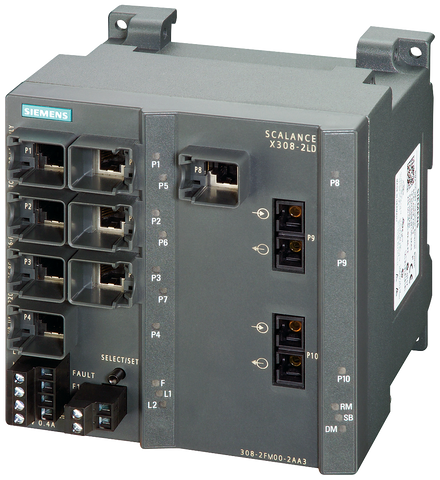 SCALANCE X308-2LD managed plus IE switch - 2x 1000 Mbit/s SM SC - 1x 10/100/1000 Mbit/s - 7x 10/100 Mbit/s RJ45 ports - 6GK5308-2FM10-2AA3