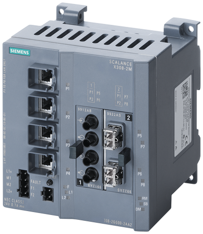 SCALANCE X308-2LH managed plus IE switch - 2x 1000 Mbit/s SM SC - 1x 10/100/1000 Mbit/s - 7x 10/100 Mbit/s RJ45 ports - 6GK5308-2FN10-2AA3