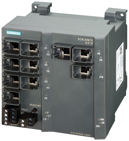 SCALANCE X310 managed plus IE switch - 3x 10/100/1000 Mbit/ - 7x 10/100 Mbit/s RJ45 - 6GK5310-0FA10-2AA3