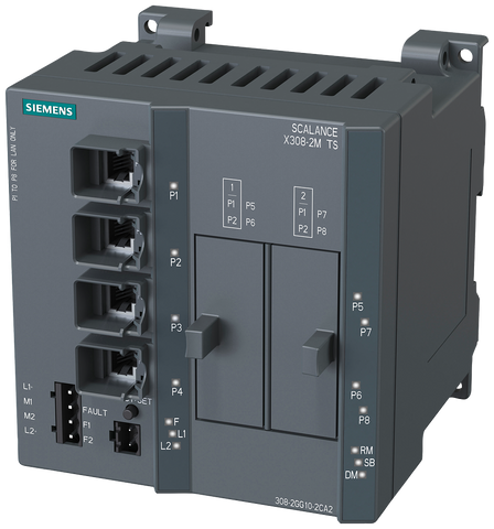 SCALANCE X308-2M TS managed IE switch - compact - 4x 10/100/1000 Mbit/s RJ45 ports - 2x 100/1000 Mbit/s media modules - 6GK5308-2GG10-2CA2
