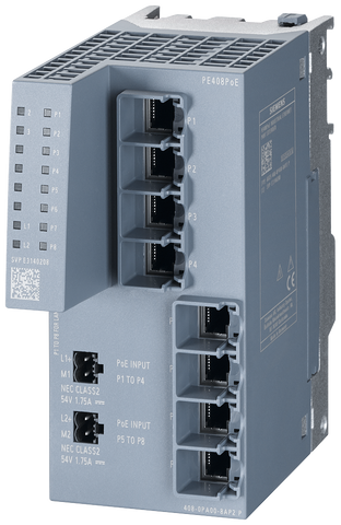 PE408PoE Port Extender for SCALANCE XM-400 managed modular IE switch - extension by 8x 10/100/1000 Mbit/s RJ45 with up to 8 ports PoE - 6GK5408-0PA00-8AP2