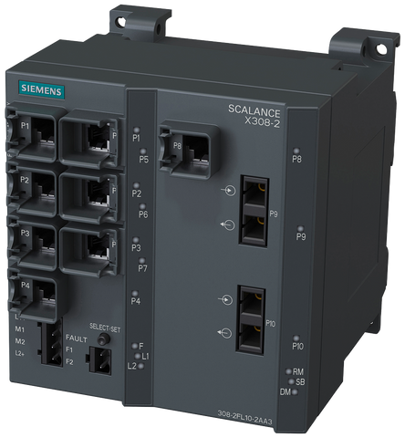SCALANCE X308-2 managed plus IE switch - 2x 1000 Mbit/s MM SC - 1x 10/100/1000 Mbit/s - 7x 10/100 Mbit/s RJ45 ports - 6GK5308-2FL10-2AA3