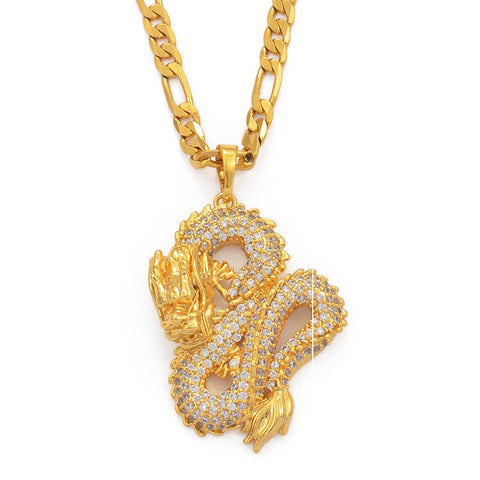 Golden Chinese Dragon Necklace | Autumn Dragon