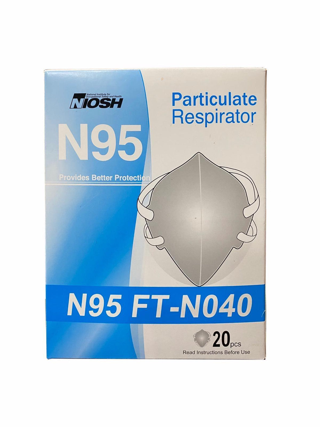 NIOSH N95 FT-N040 Particulate Respirator Masks (20 PCS)