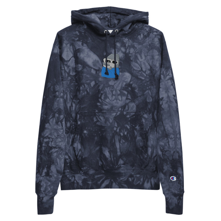 Very Smug Ape (Grey) x Champion Embroidered Unisex Tie-dye Hoodie