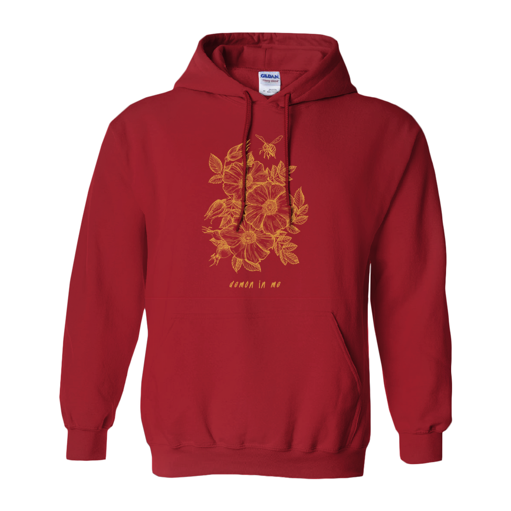 Demon In Me - Flower Hoodie (Maroon / Gold)