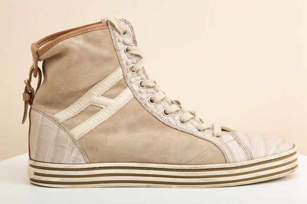 Deportivas high top de ante beige
