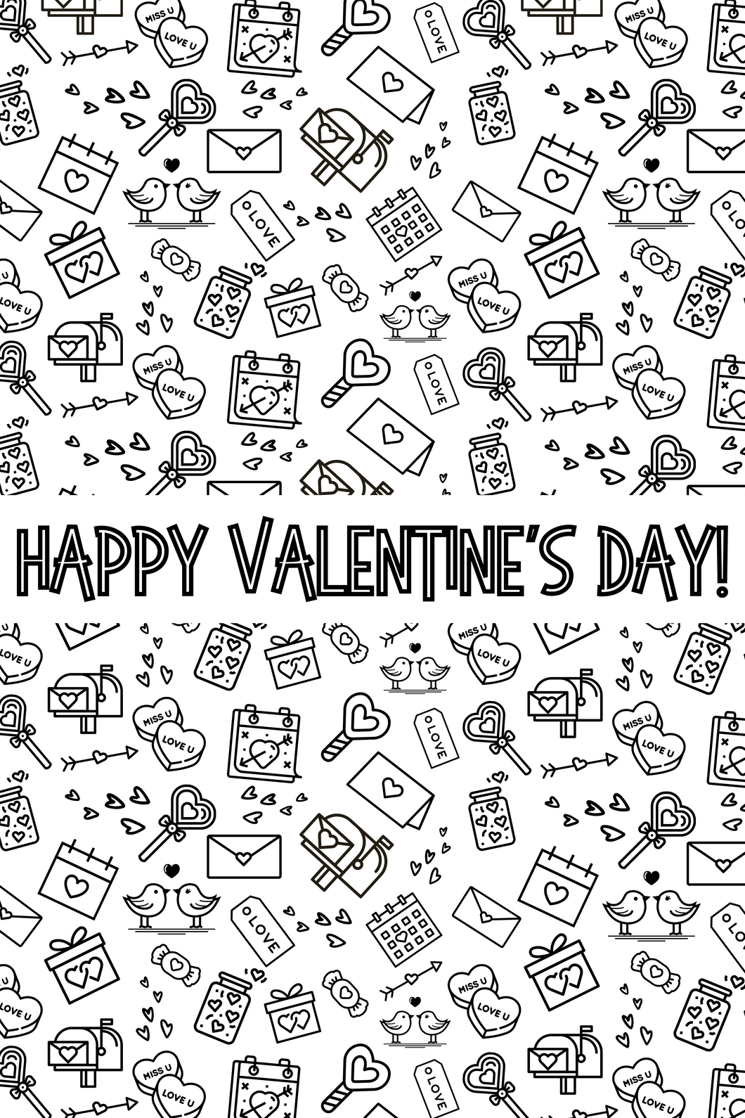 Happy Valentine's Day Coloring Poster