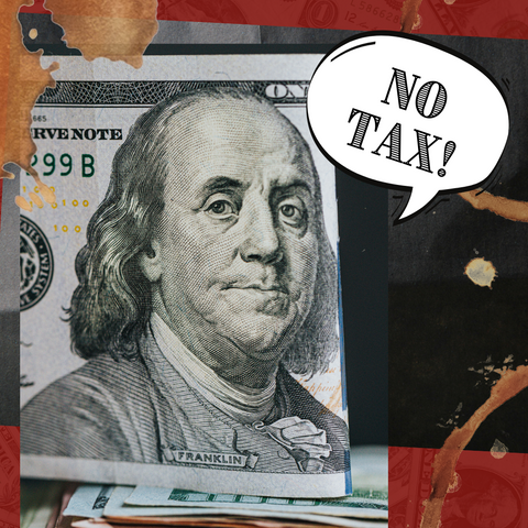 Benjamin Franklin announcing from his $100 bill portrait the Tennessee Tax Free Holiday