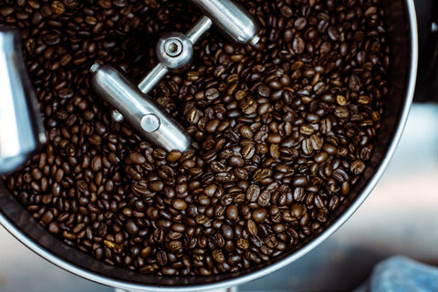 Coffee beans in a roasting drum. Photo by Gregory Hayes.