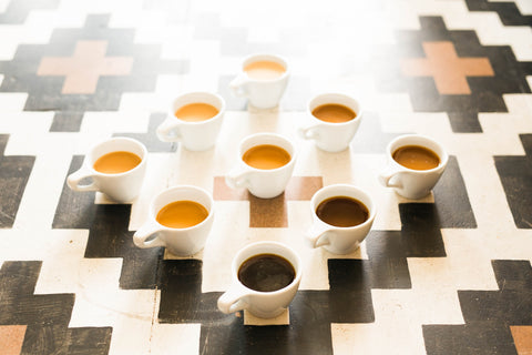 Nine cups of coffee on a tile floor. Photo by Nathan Dumlao.