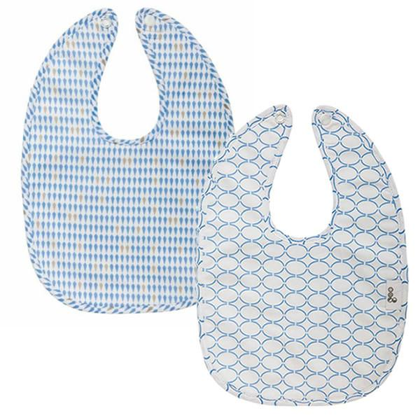 Goo Organic Cotton Baby Bib 2 Pack - Harlequin Blue / Clear Skies Blue