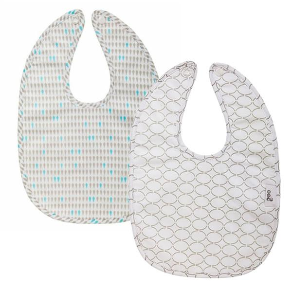 Goo Organic Cotton Baby Bib 2 Pack - Harlequin Grey / Clear Skies Grey