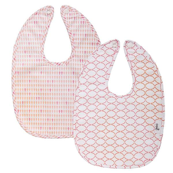 Goo Organic Cotton Baby Bib 2 Pack - Harlequin Pink / Clear Skies Pink
