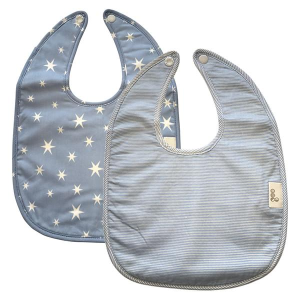 Goo Organic Cotton Baby Bib 2 Pack - Starry Night Blue / Summer Rain Blue - Ecosprout - New Zealand