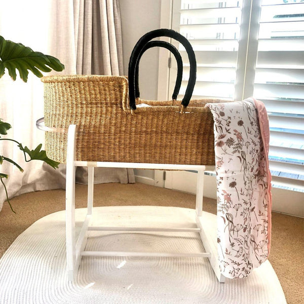 African Moses Basket Rocking Stand : White Nursery Ecosprout