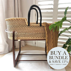 Bundle | Heirloom African Moses Basket - Black/Choc Multi (Pre-order: Due Feb 2021) Nursery Adinkra Designs Wool Chocolate