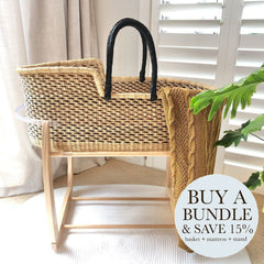 Bundle | Heirloom African Moses Basket - Black/Choc Multi (Pre-order: Due Feb 2021) Nursery Adinkra Designs Wool Natural