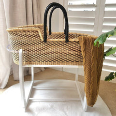 Bundle | Heirloom African Moses Basket - Black/Choc Multi (Pre-order: Due Feb 2021) Nursery Adinkra Designs Wool White