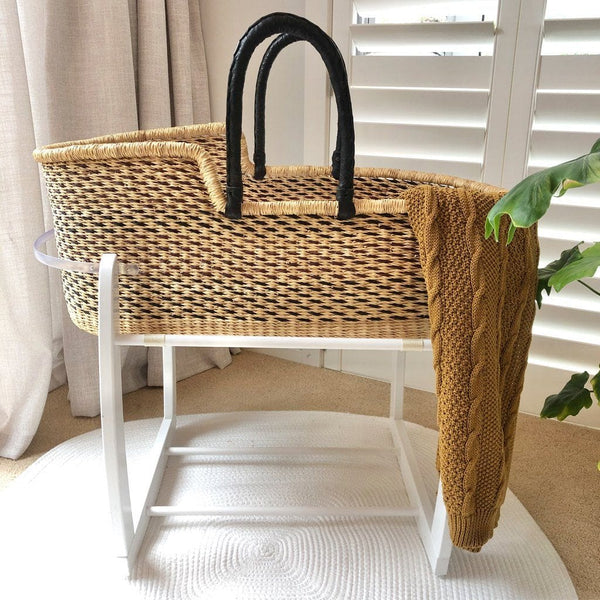 Heirloom African Moses Basket - Black / Chocolate Multi (Due Early November) Nursery Adinkra Designs