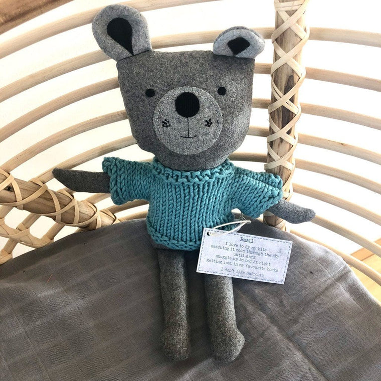 Basil Bear - handmade felted wool toy