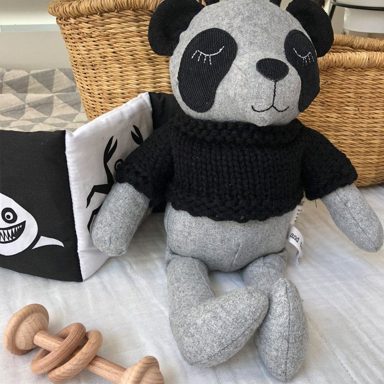 Cecil Panda - handmade felted wool toy